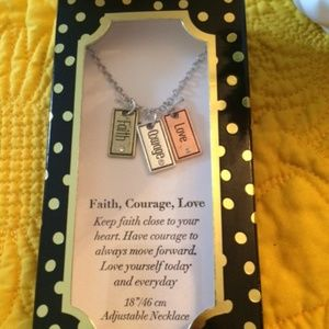 Jewelry - NIB Faith, Courage, Love Necklace